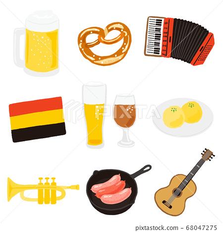 德國白酒和食物,樂器圖標集 68047275