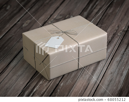 Craft paper gift box with empty label on wooden 68055212