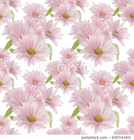 Seamless floral design with pink daisy flowers for 68056460