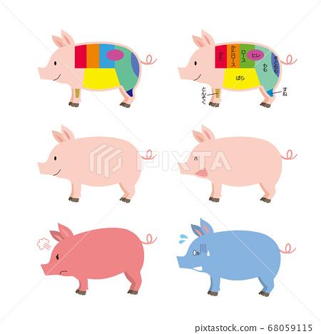 돼지 고기의 부위와 돼지 표정 세트 68059115
