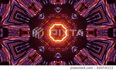 3D Illustration Fiery Octagon Sun Background 68059313