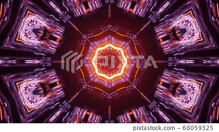 3D Illustration Purple Octagon Sun Background 68059325