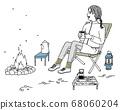 [手寫風格]露營的女人的插圖 68060204