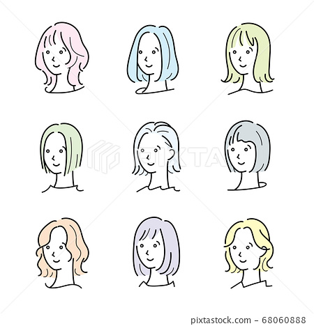 Face icon medium hair 68060888