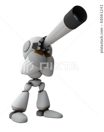 망원경을 들여다 귀여운 로봇. 3D 렌더링. 68061241
