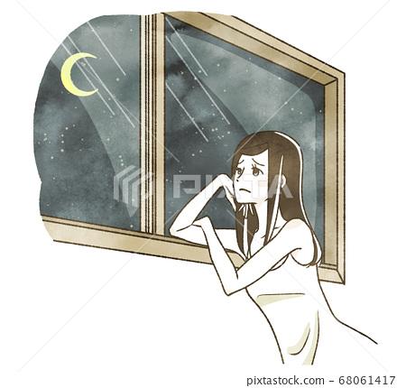 晚上看著窗外的女人 68061417