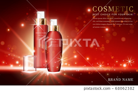 Vector 3D cosmetic make up illustration product 68062382