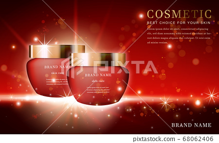 Vector 3D cosmetic make up illustration product 68062406
