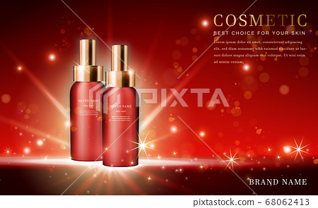 Vector 3D cosmetic make up illustration product 68062413