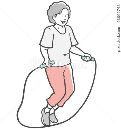 中年女人玩跳绳 68062748