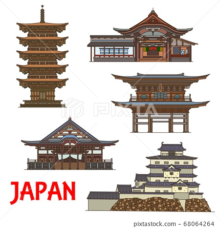 Japanese temples and castle, travel landmarks 68064264