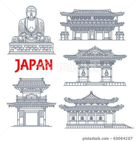 Japanese travel landmark, thin line pagoda, statue 68064287