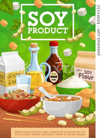 Soy products, soybean food of legume plant beans 68064332