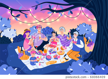 Family at night picnic in summer nature - cartoon people eating food 68066409
