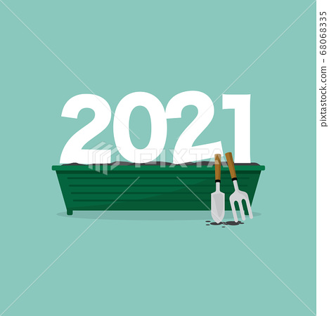 2021 Font on The Plant Pot, Which Shows The Beginning of New Things in The Year 2021 Concept  68068335