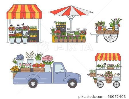 Flower market stalls and vans set, sketch cartoon vector illustration isolated. 68072408