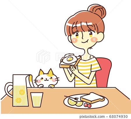 一個女人吃早餐的插圖 68074930