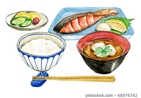 日式早餐水彩 68076782