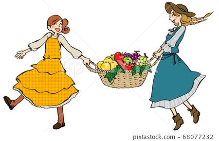 일러스트 그린 여성 과일 바구니 건너 뛰기 68077232