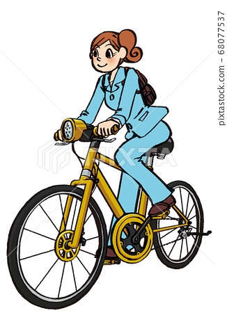 插圖手繪商務女士西裝自行車通勤 68077537