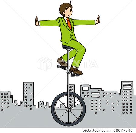 일러스트 그린 비즈니스 남성 외발 자전거 세상 거리 맞은 편 68077540