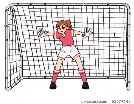 일러스트 그린 비즈니스 여성 취미 축구 골키퍼 골 스포츠 68077548