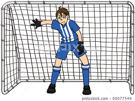 例證手拉的商人愛好足球守門員目標體育 68077549