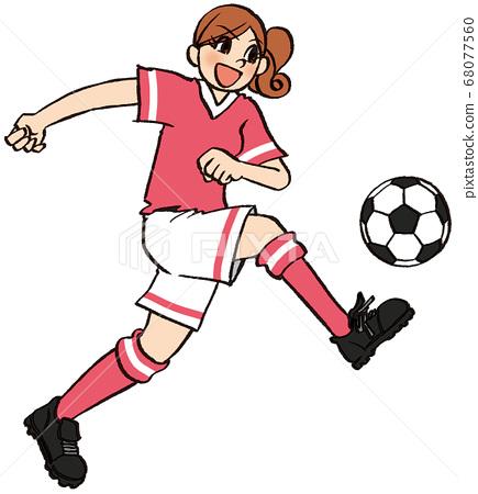 圖手繪商業女性愛好足球運球運動 68077560