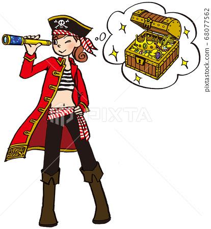 일러스트 그린 비즈니스 여자 해적 코스프레 선장 보물 발견 68077562