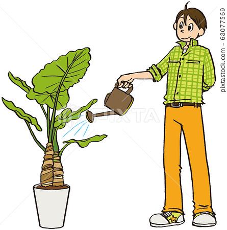일러스트 그린 비즈니스 남성 텃밭 화분 식물 68077569