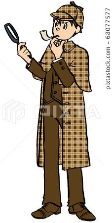 插圖手繪商務男性偵探私人偵探放大鏡玻璃管 68077577