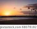 Palm silhouette and sunset (Magic Island, Hawaii) 68078182