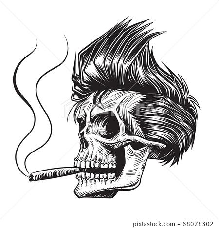 Skull smoking cigar vector illustration 68078302