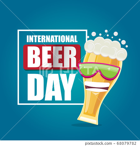 Happy international beer day banner or poster with cartoon funny beer glass friends characters with sunglasses isolated on blue background. International beer day cartoon comic poster 68079782