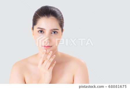 Beautiful woman asian makeup of cosmetic, beauty asia girl hand touch mouth and smile attractive. 68081675
