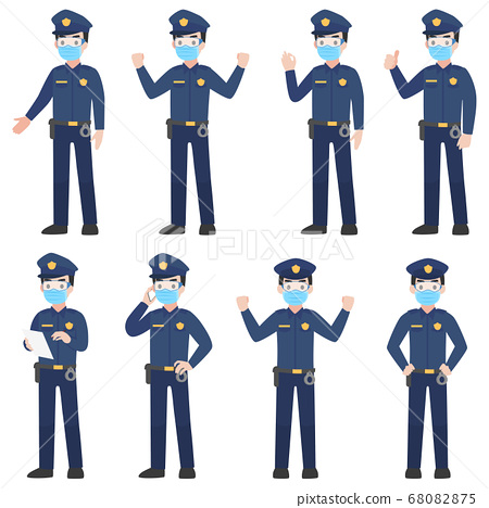 Set of police in uniform with New normal life 68082875