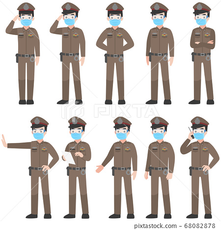 Set of Thai police in brown uniform with New 68082878