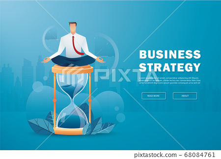 businessman sitting in lotus pose meditation on hourglass vector illustration  68084761