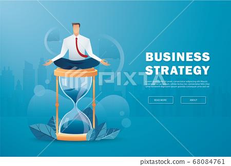businessman sitting in lotus pose meditation on hourglass vector illustration  68084761