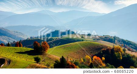 mountainous rural landscape in autumn. fields on 68085220