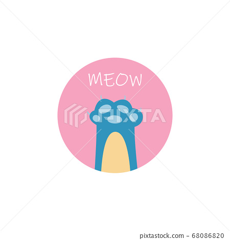 Meow - flat doodle of blue cat's paw in pink circle. 68086820