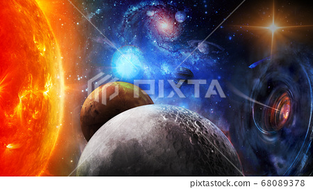 The sun, black hole and planets in space. 68089378