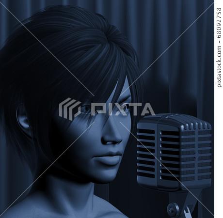 female jazz singer illustration 68092758