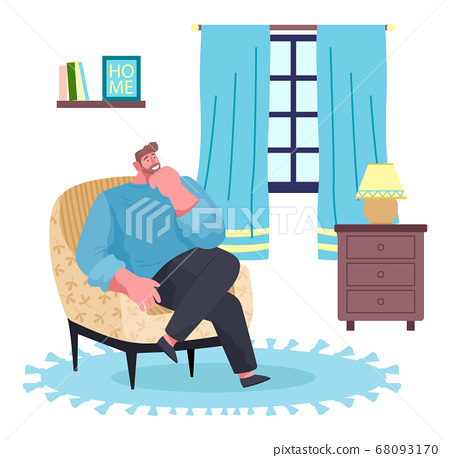 Man sitting at armchair in room near window, thinking and smiling, relaxing at home, home recreation 68093170