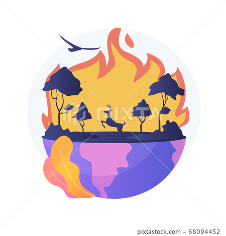 Wildfires abstract concept vector illustration. 68094452