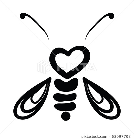 Vector Illustration Hand-drawn Silhouette Of A Bee. 68097708