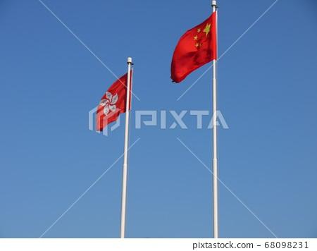 Chinese flag and Hong Kong flag 68098231