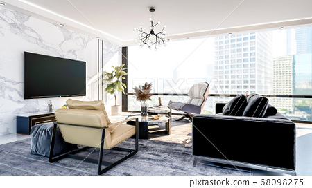 Modern and luxury apartment living room interior with large window, 3D Rendering 68098275