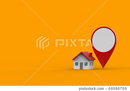 Location icon and house isolated on orange background. 3D Illustration. 68098789