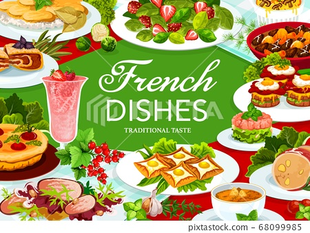 France cuisine vector French food, dishes poster 68099985